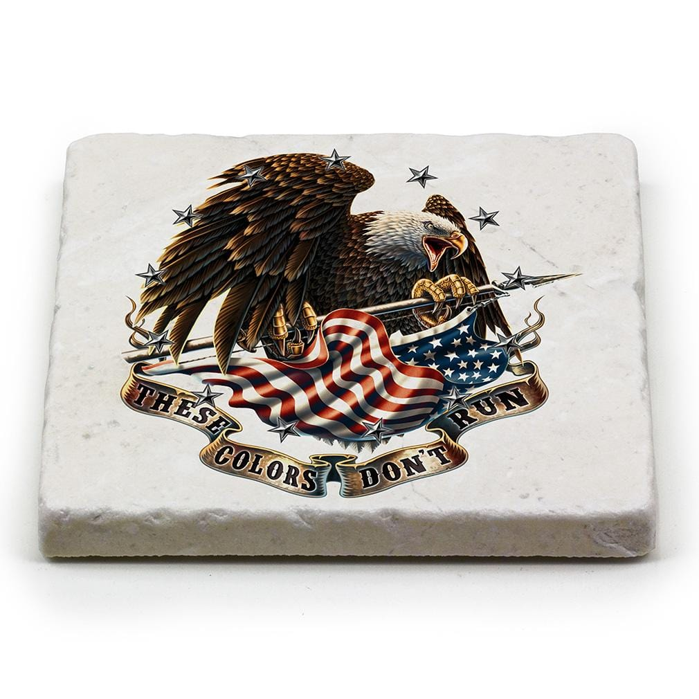Patriotic These Color Dont Run Ivory Tumbled Marble 4IN x 4IN Coaster Gift Set