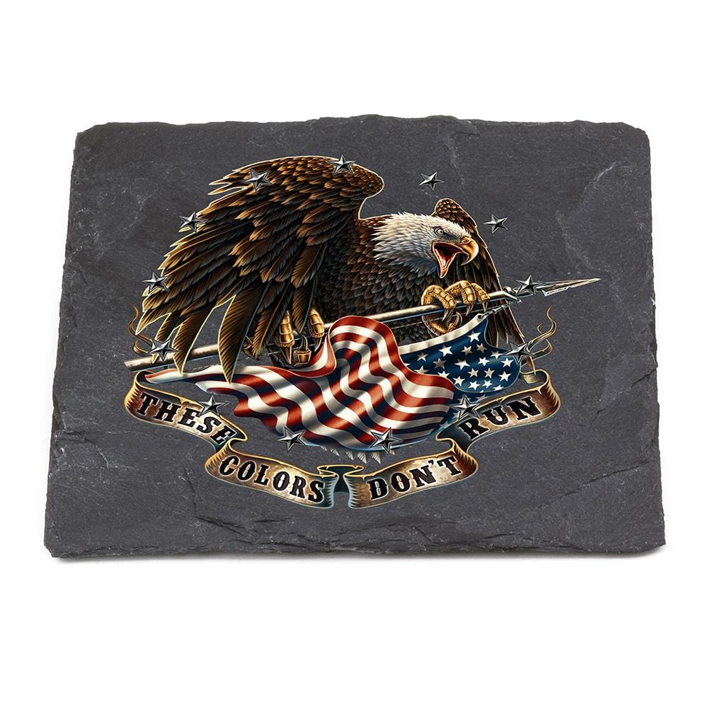 Patriotic These Color Dont Run Black Slate 4IN x 4IN Coaster Gift Set