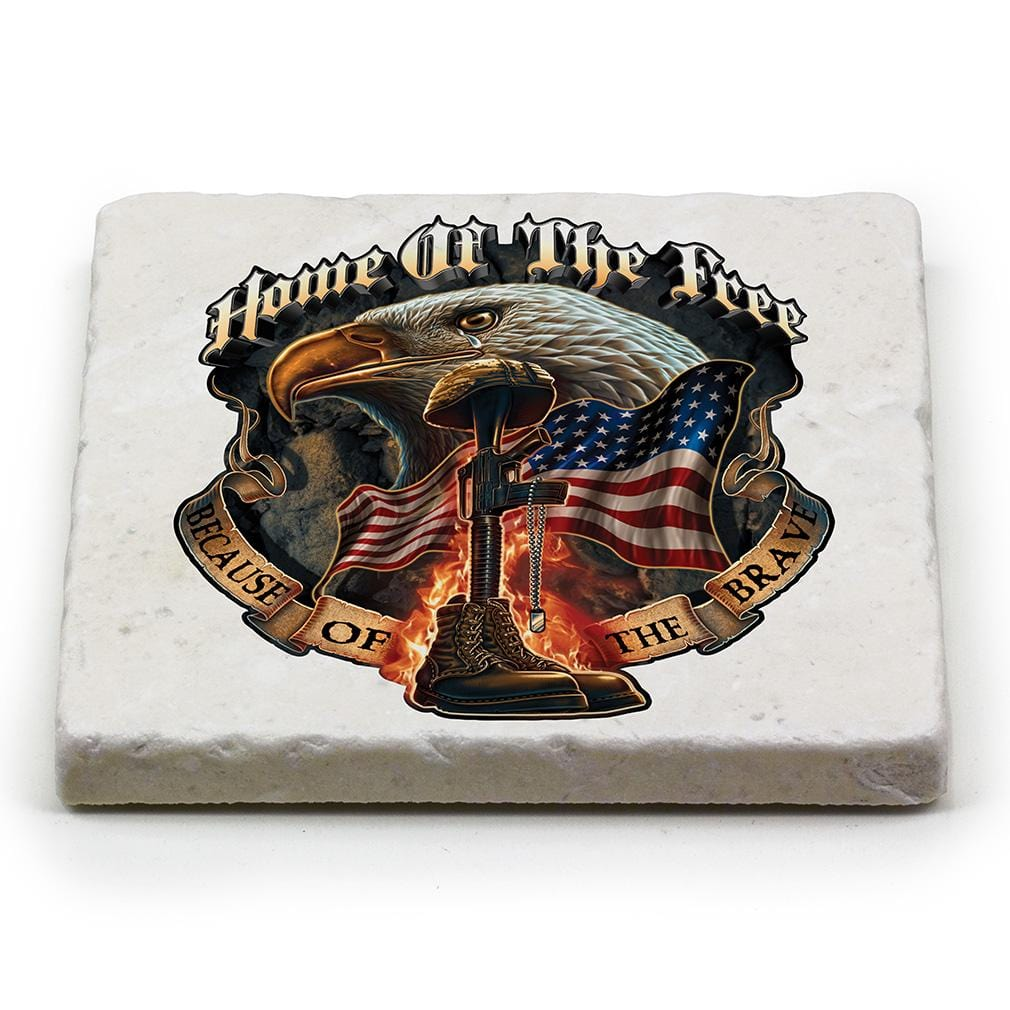 Patriotic Home of the Free Because of the Brave Ivory Tumbled Marble 4IN x 4IN Coaster Gift Set