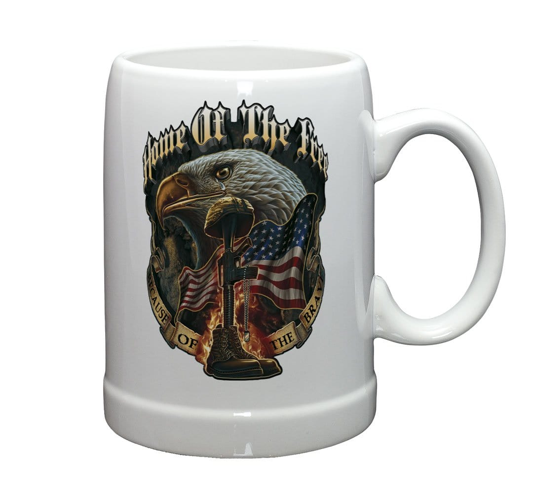 Patriotic Home of The Free Because of The Brave Stoneware White Coffee Mug Gift Set