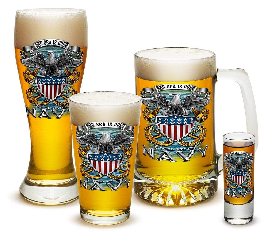 US Navy Full Print Eagle 4 Piece Glass Gift Set