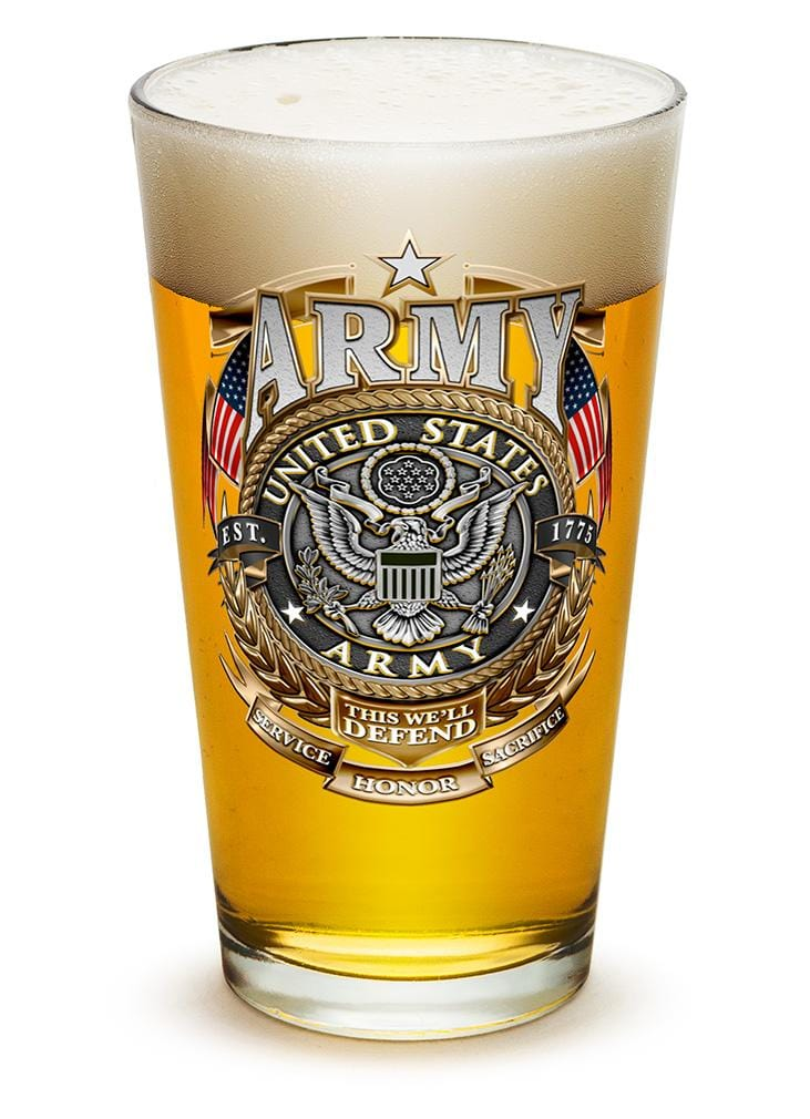 Army Gold Shield 16oz Pint Glass Glass Set