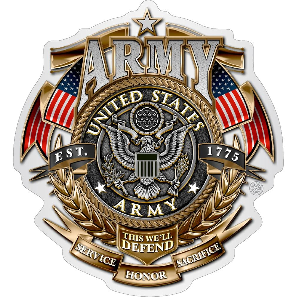 ARMY GOLD SHIELD Badge of honor Premium Reflective Decal