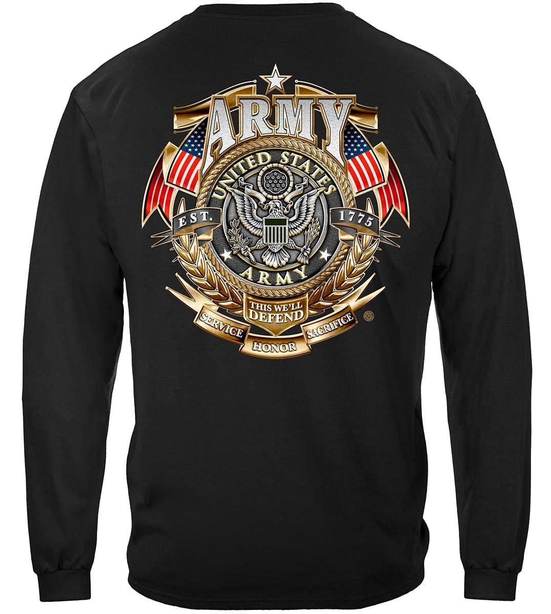 Army Gold Shield Badge Of Honor Premium Long Sleeves