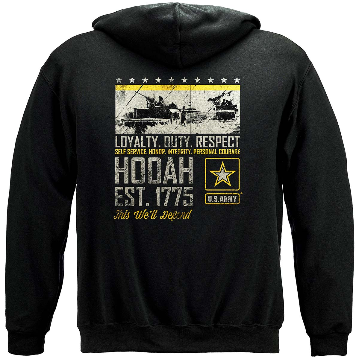 Army Duty Hooah Premium Hooded Sweat Shirt