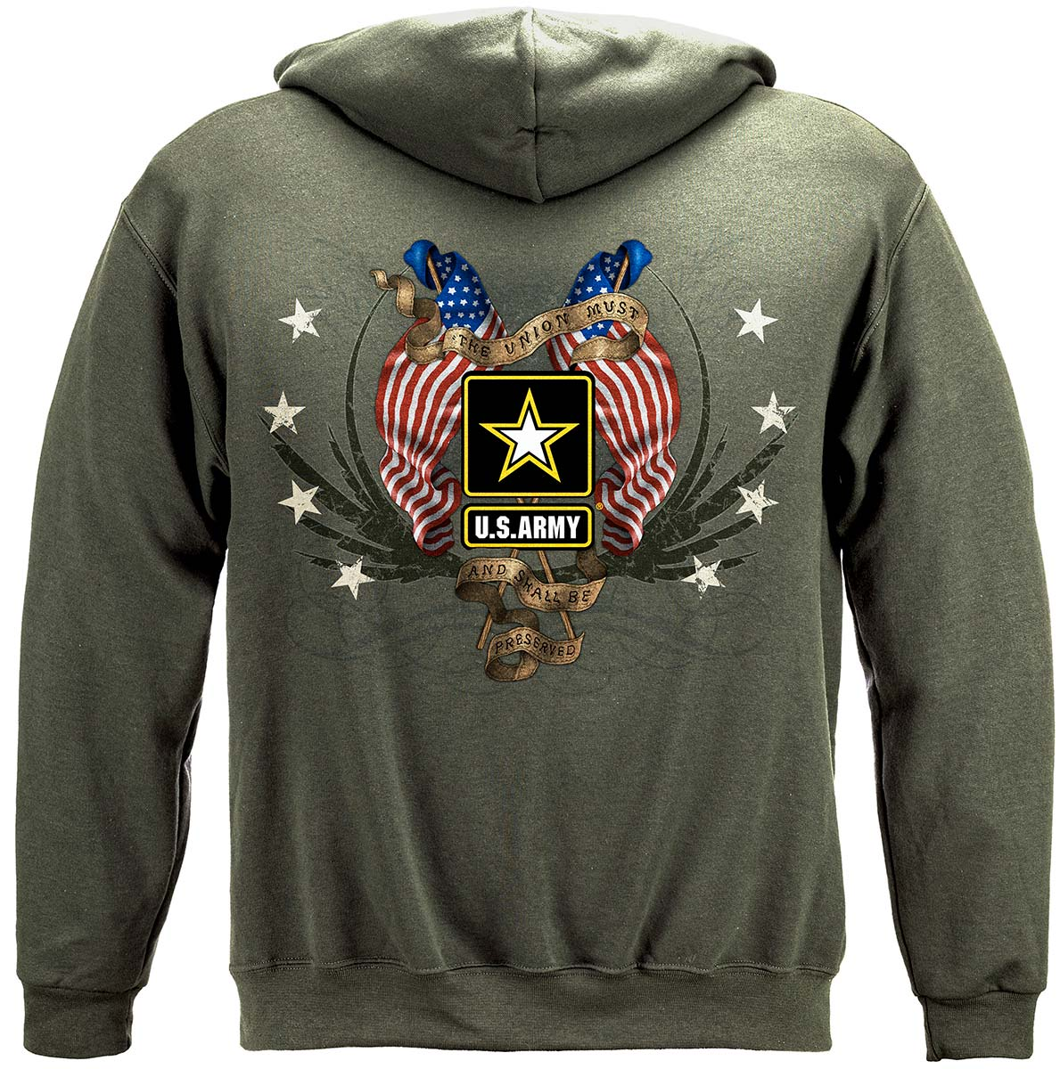 Army Star Double Four Star Double Flag Premium Hooded Sweat Shirt