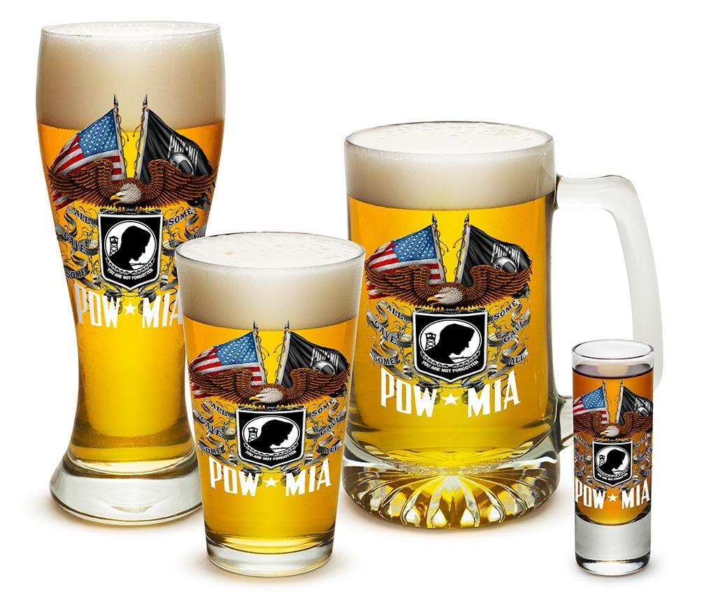 Double Flag Eagle POW MIA American Flag 4 Piece Glass Gift Set