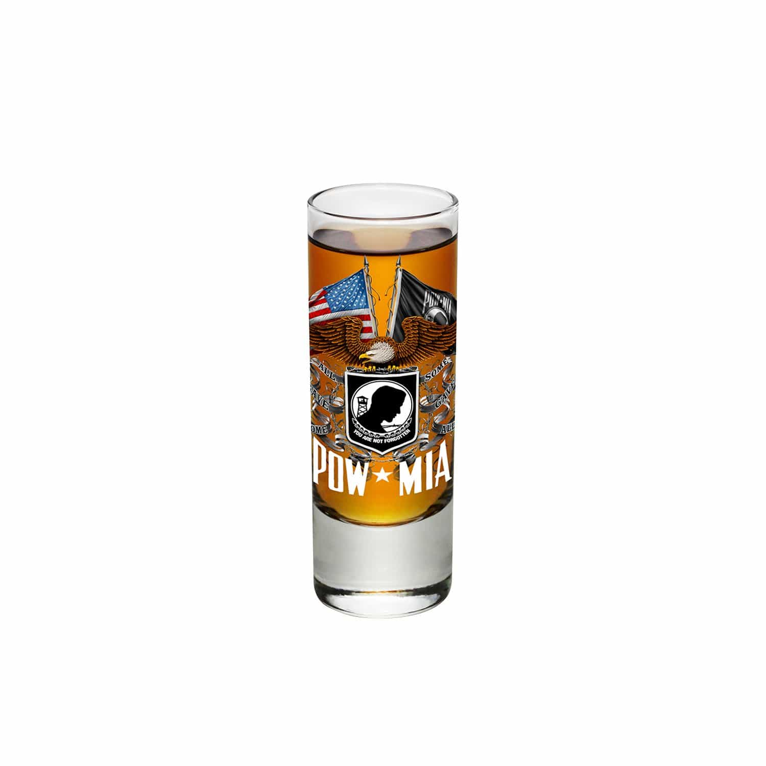 Double Flag Eagle POW Shooter Shot Glass