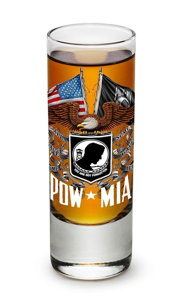 Double Flag Eagle POW MIA American Flag 2oz Shooter Shot Glass Glass Set