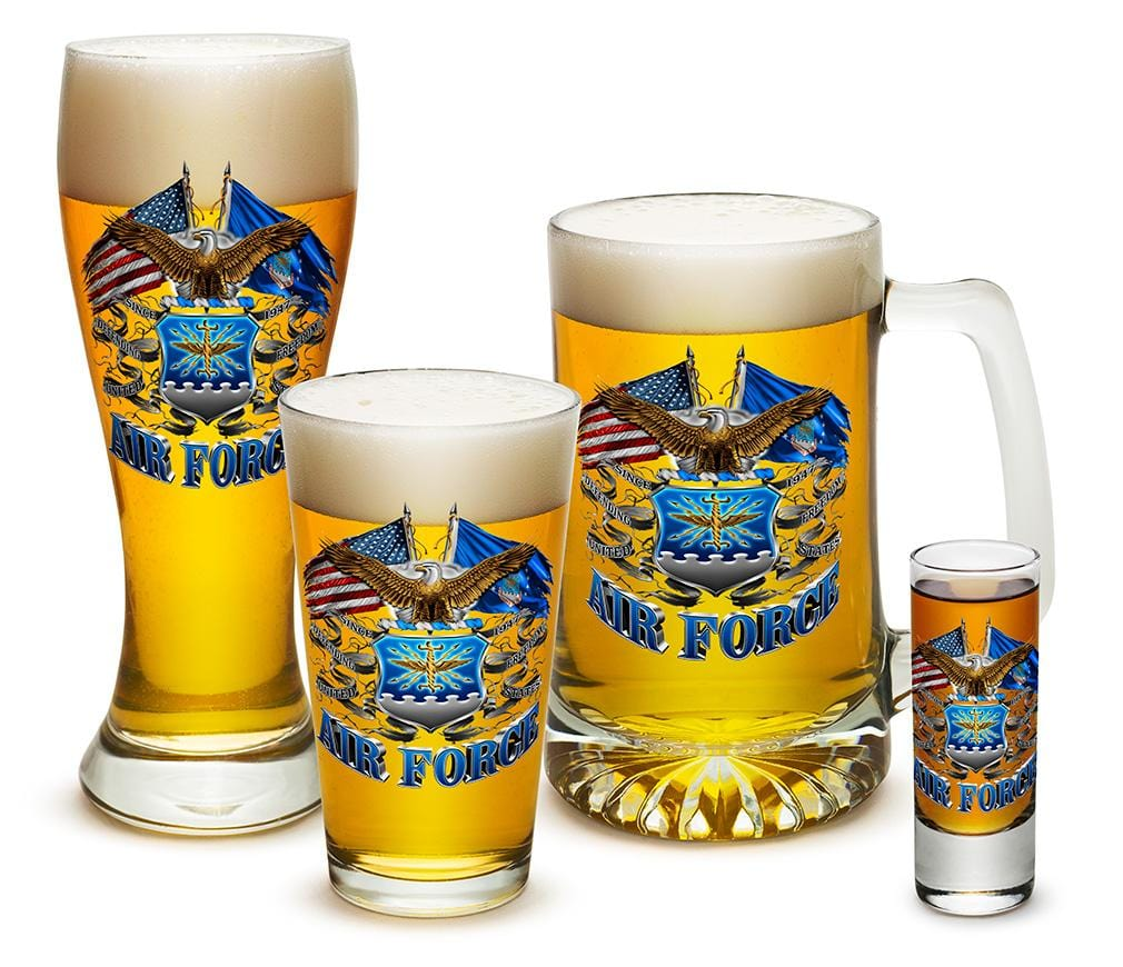 Double Flag Air Force Eagle 4 Piece Glass Gift Set
