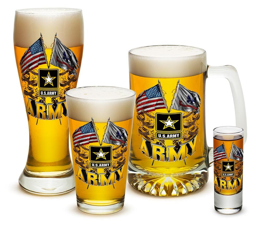 Army Double Flag US Army 4 Piece Glass Gift Set