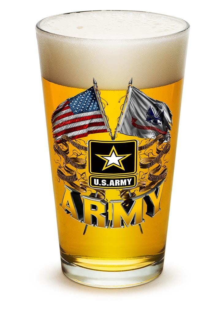 Army Double Flag US Army 16oz Pint Glass Glass Set