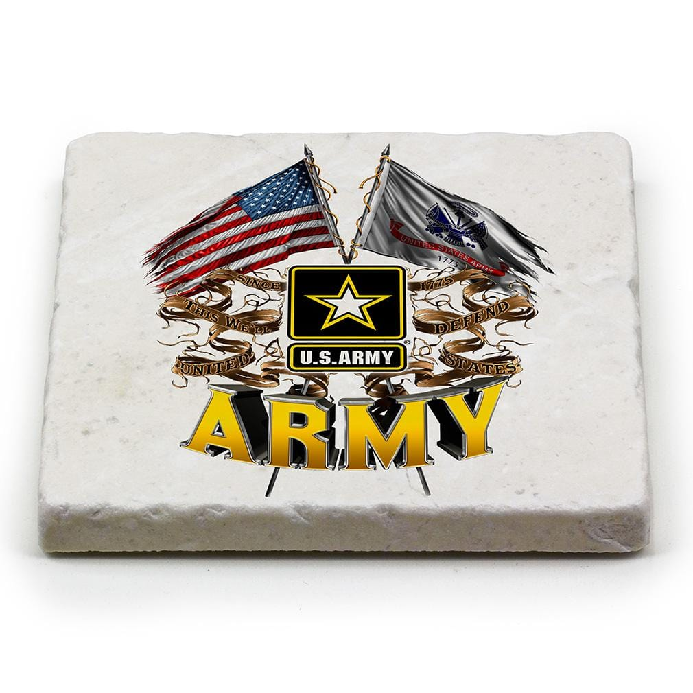 US Army Double Flag Ivory Tumbled Marble 4IN x 4IN Coaster Gift Set