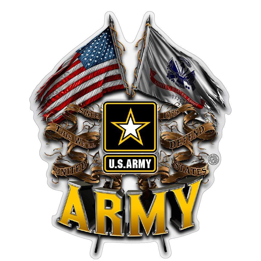 ARMY DOUBLE FLAG US ARMY Premium Reflective Decal