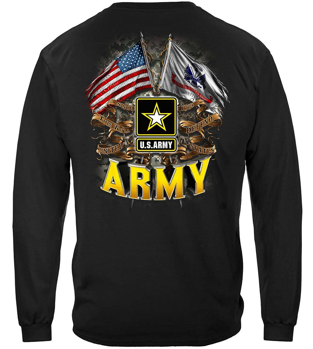 Army Double Flag Us Army Premium Long Sleeves