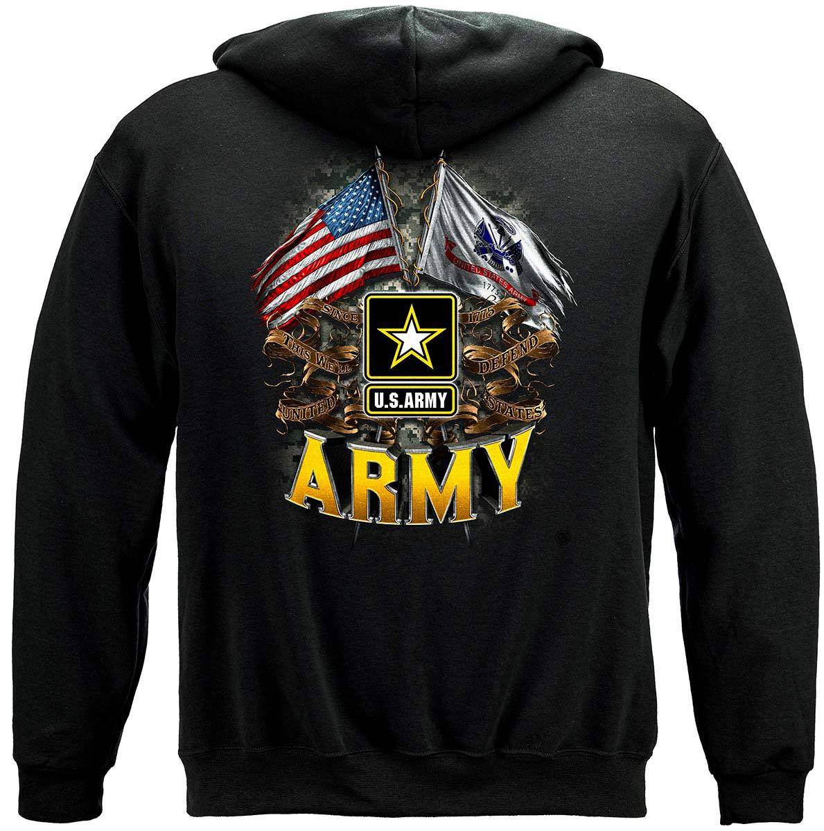 Army Double Flag Us Army Premium Hooded Sweat Shirt