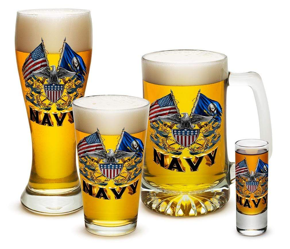 Double Flag Eagle Navy Shield 4 Piece Glass Gift Set