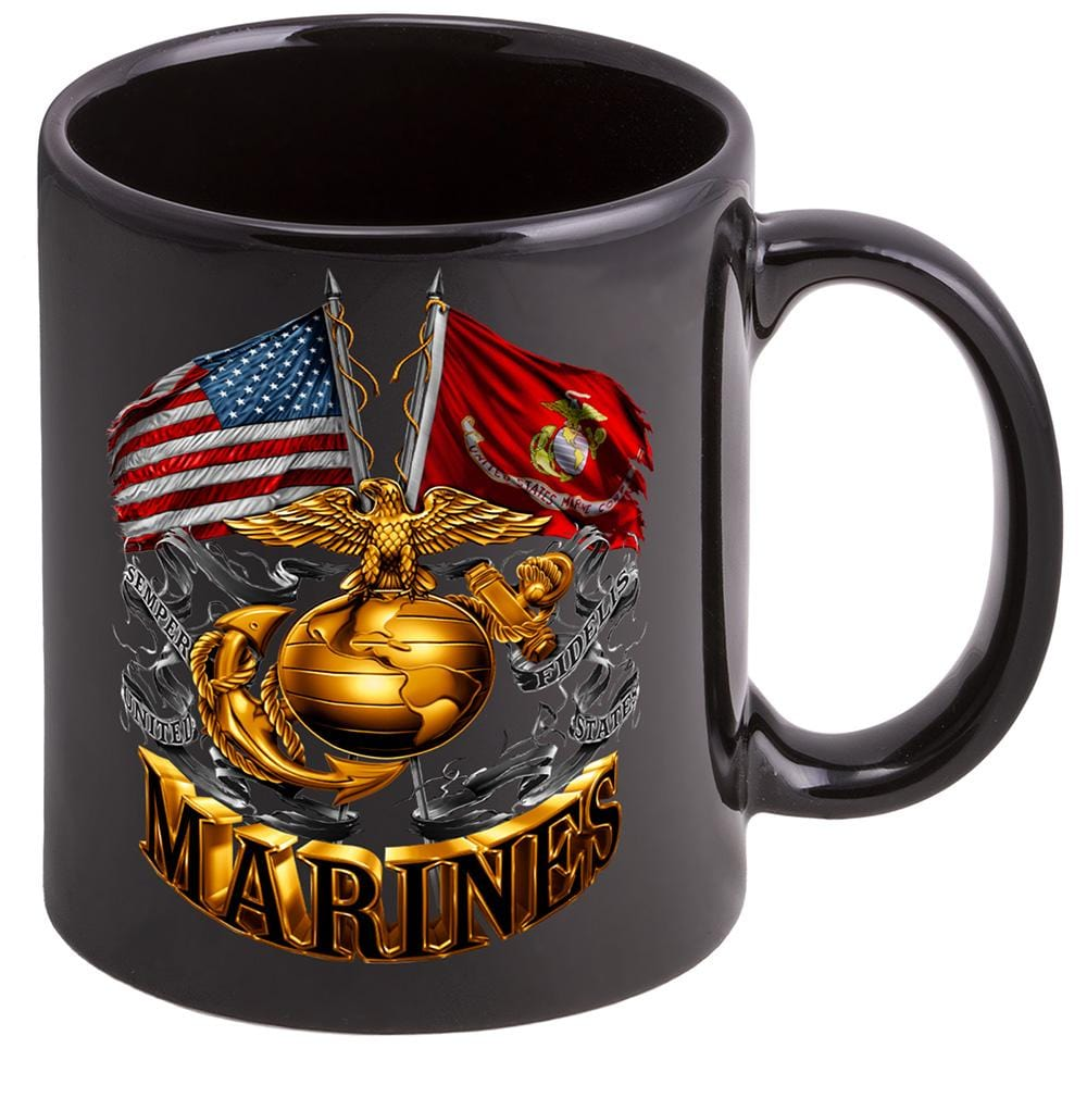USMC Double Flag Gold Globe Marine Corps Stoneware Black Coffee Mug Gift Set
