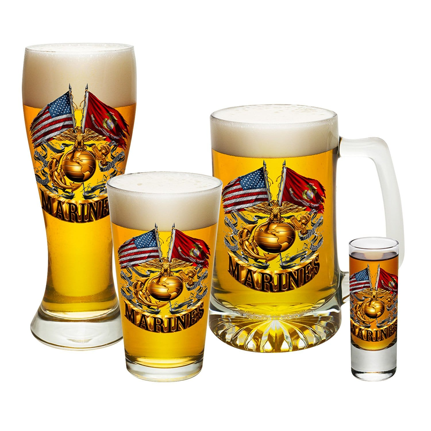 Double Flag Gold Globe Marine Corps 4 PC. Glass Set