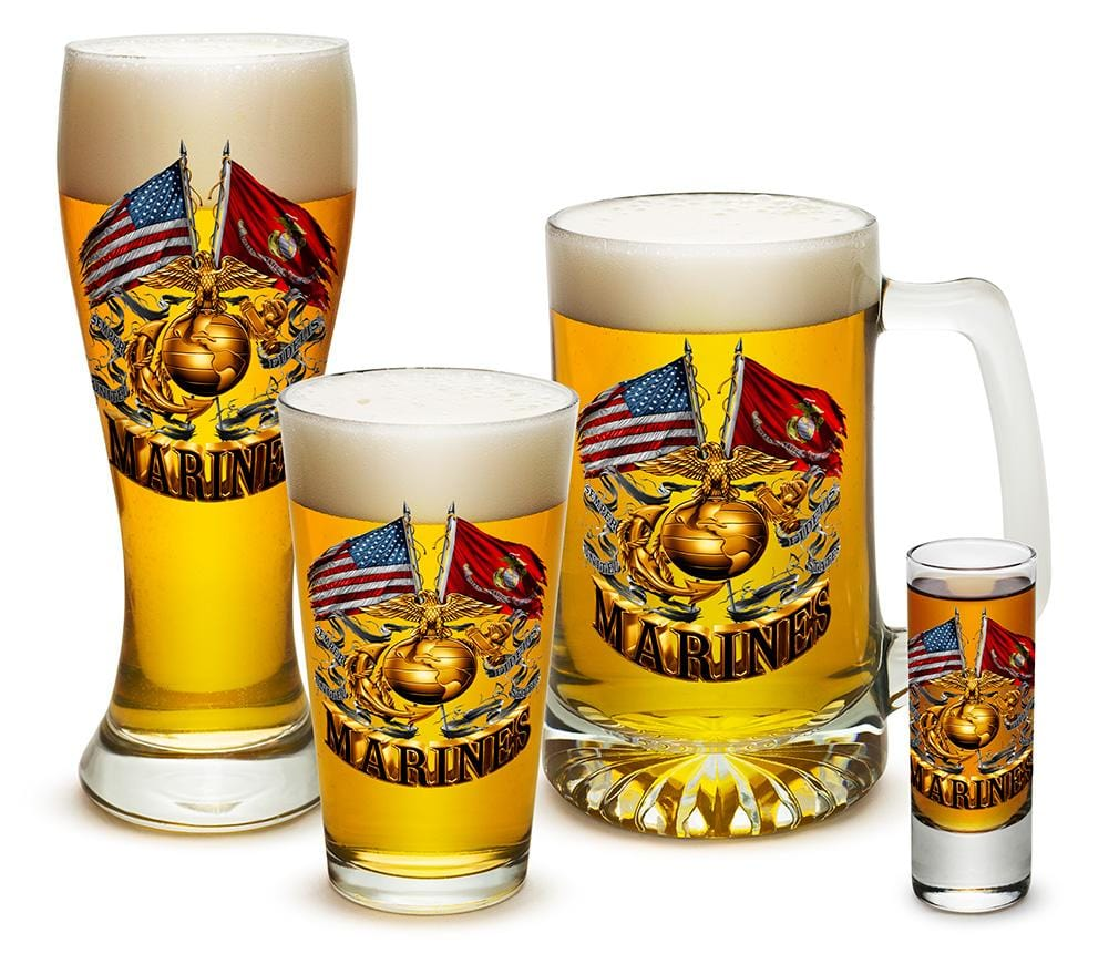 Double Flag Gold Globe Marine Corps 4 Piece Glass Gift Set