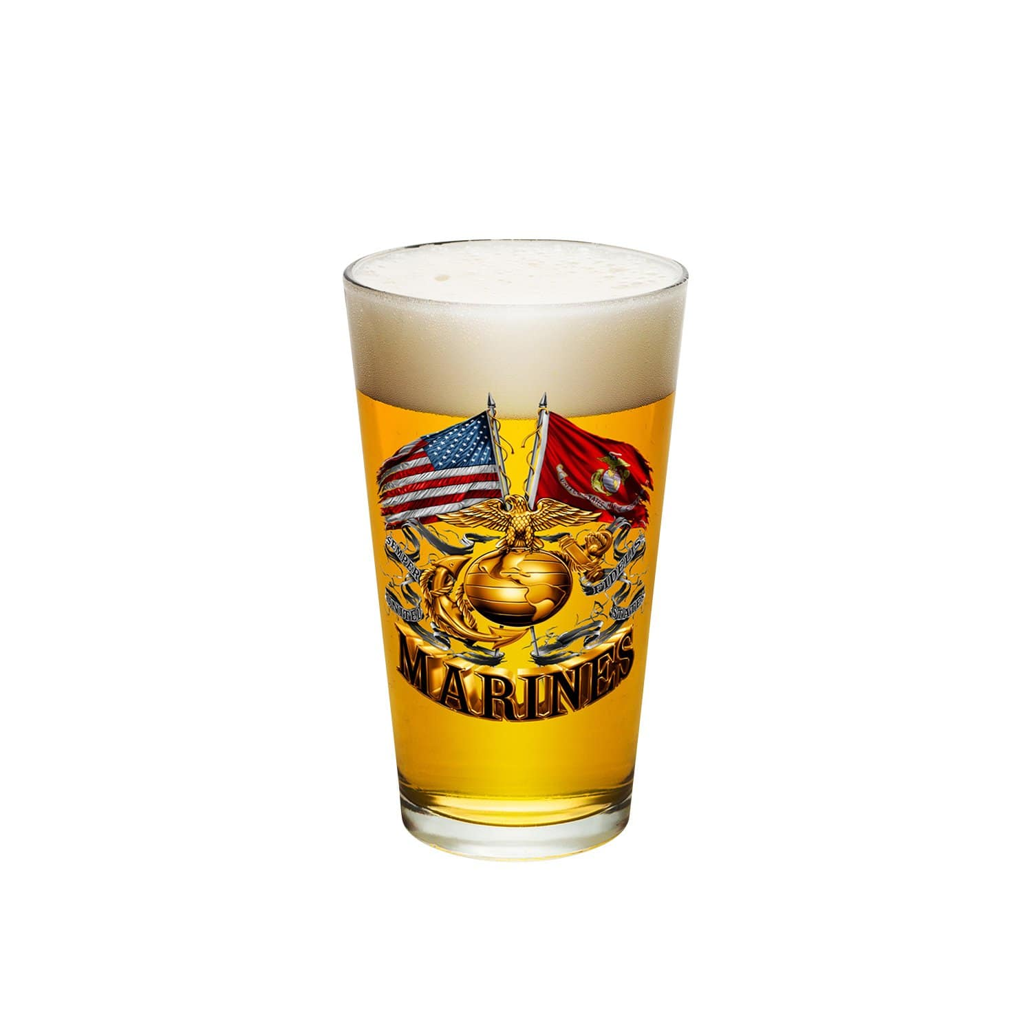Double Flag Gold Globe Marine Corps Pint Glass