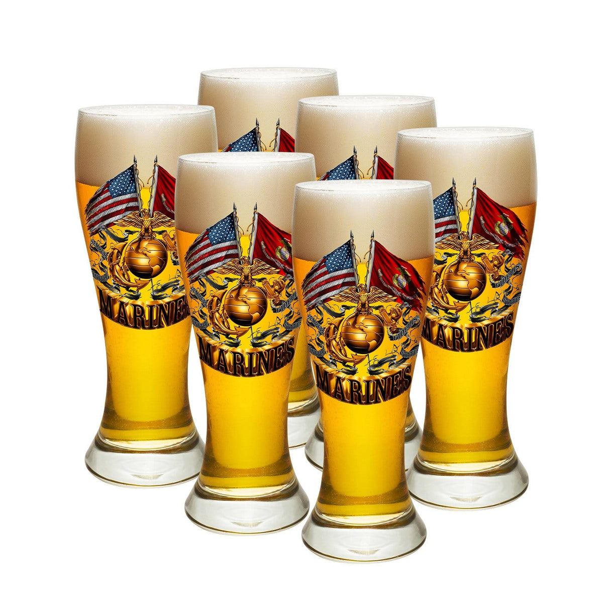 Double Flag Gold Globe Marine Corps Pilsner Glass