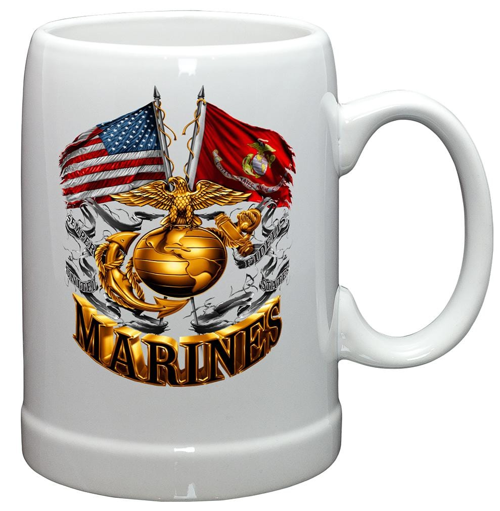 USMC Double Flag Gold Globe Marine Corps Stoneware White Coffee Mug Gift Set