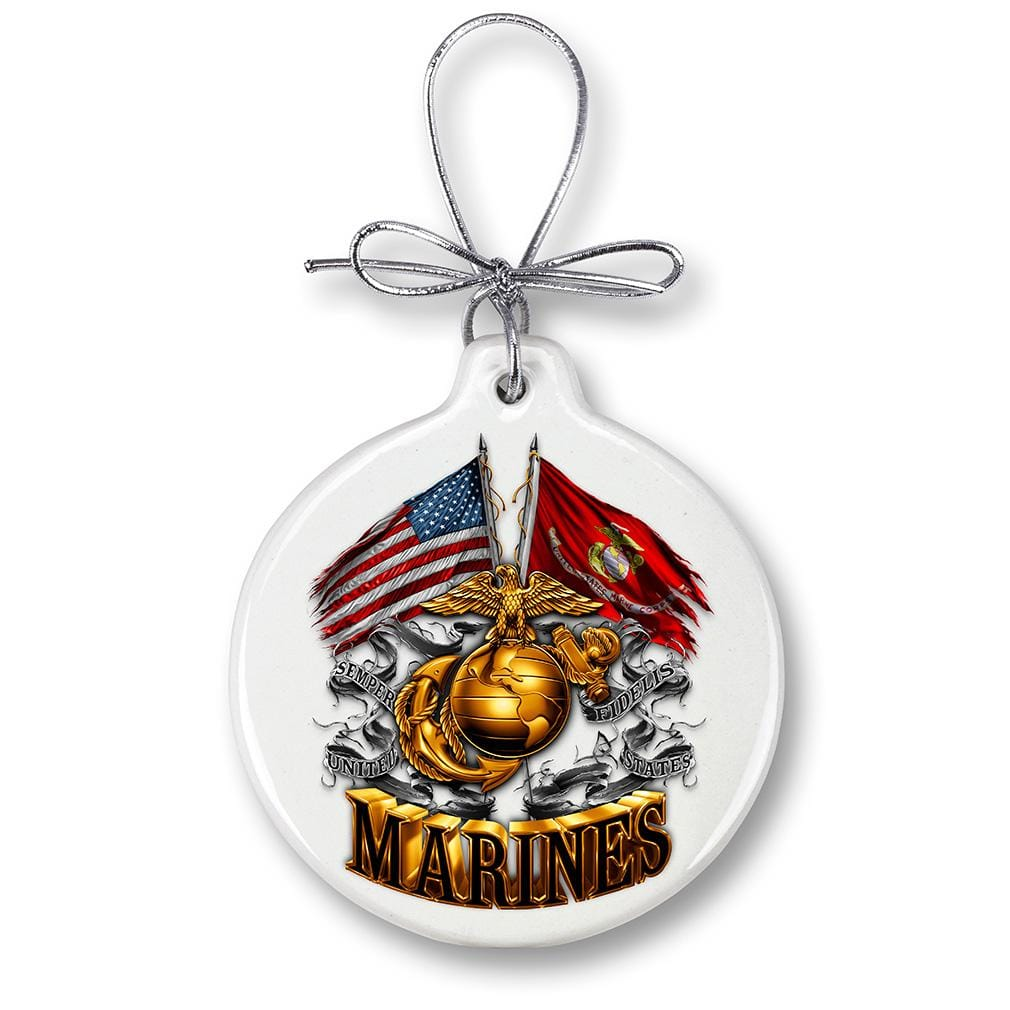 USMC Marine Corps Double Flag Gold Globe Christmas Tree Ornaments