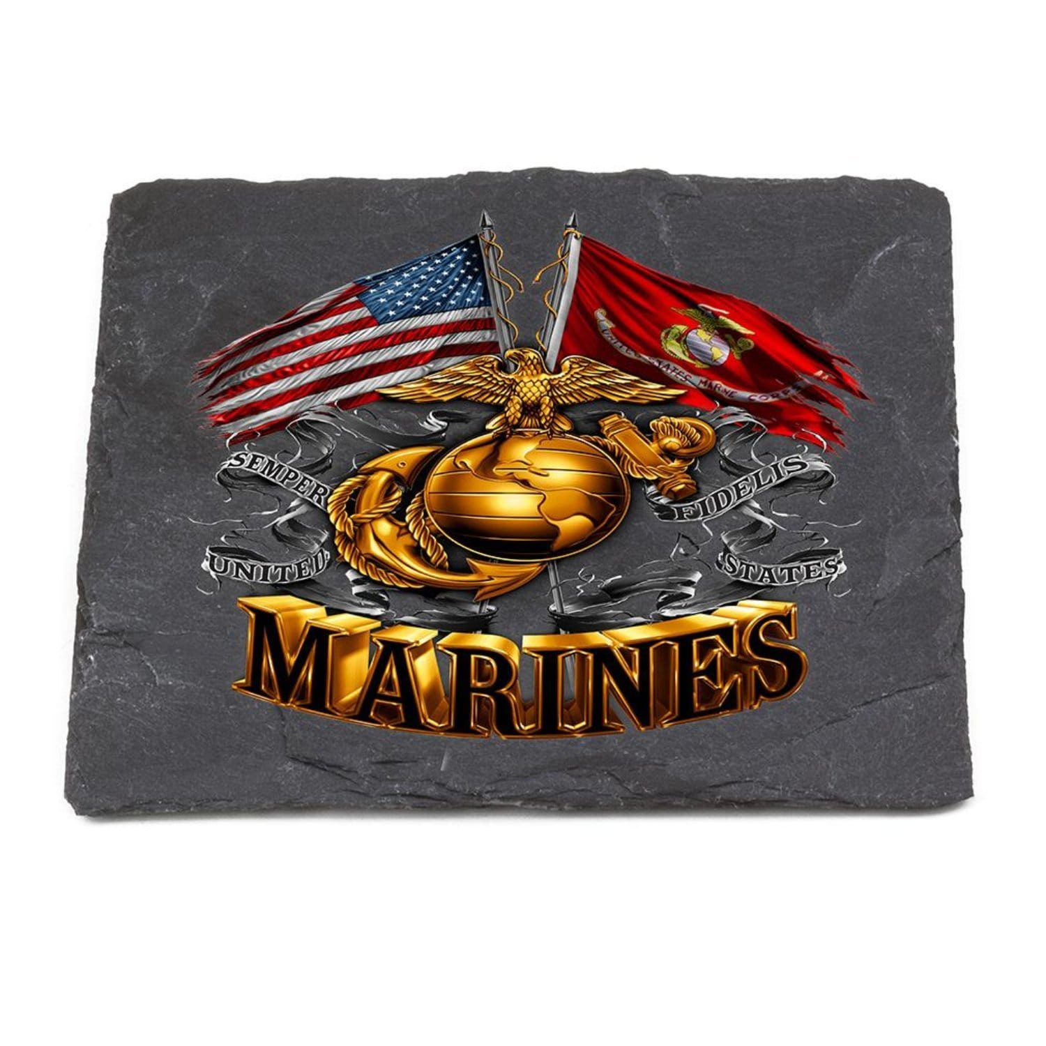 Double Flag Gold Glob Marine Corps Coaster Black