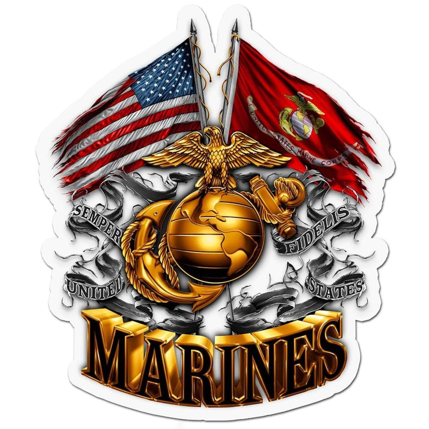 Double Flag Gold Globe Marine Corps Reflective Decal