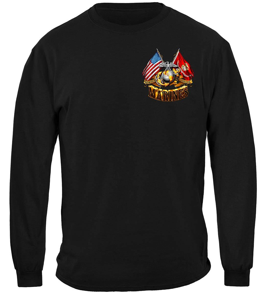 Double Flag Gold Globe Marine Corps Premium Long Sleeves