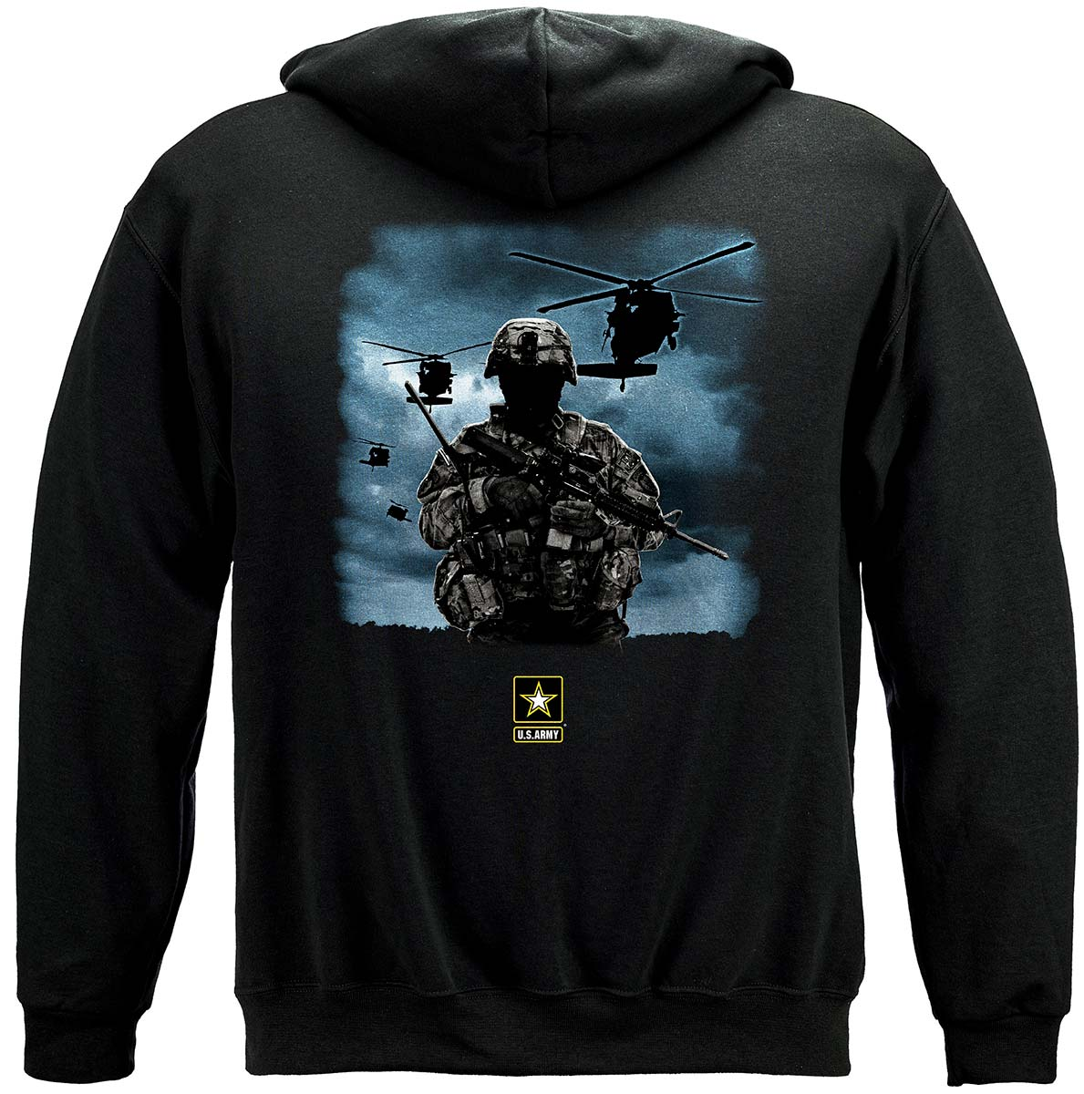 Army Strong Helicopter Solider Premium Hooded Sweat Shirt