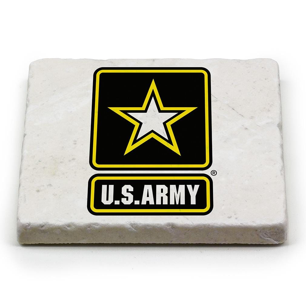US Army Logo Ivory Tumbled Marble 4IN x 4IN Coaster Gift Set