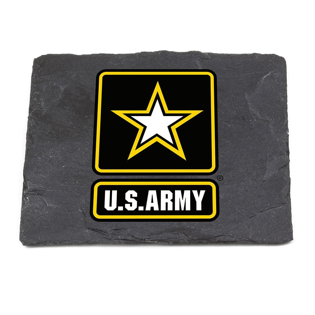 US Army Logo Black Slate 4IN x 4IN Coaster Gift Set