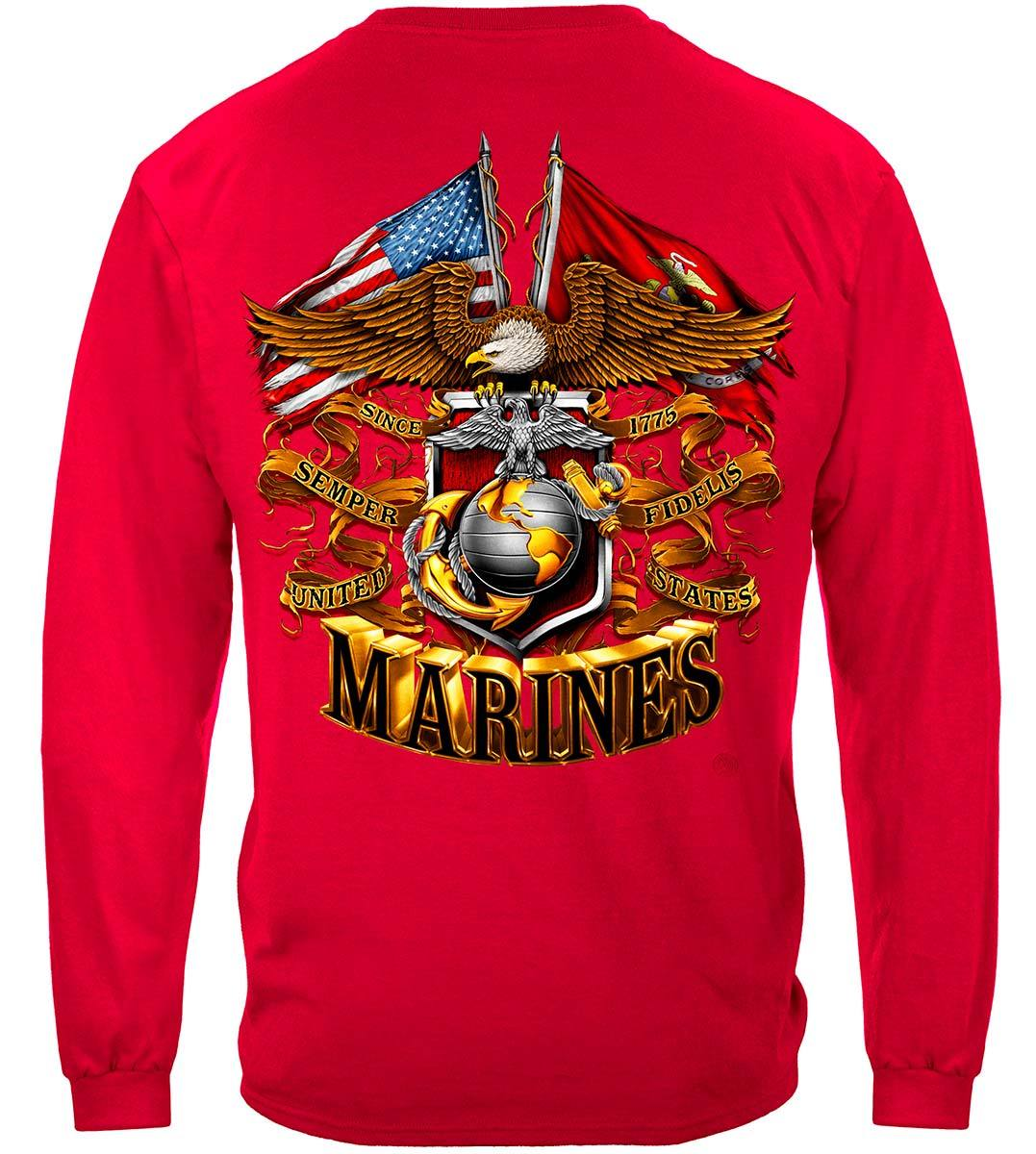 USMC Double Eagle And Flags Foil Stamp Premium Long Sleeves