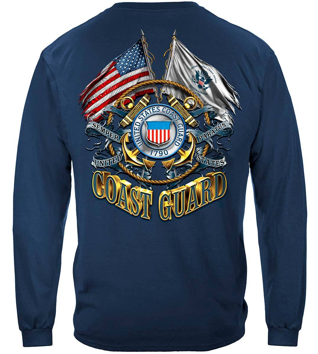 Double Flag Coast Guard Premium Hooded Sweat Shirt
