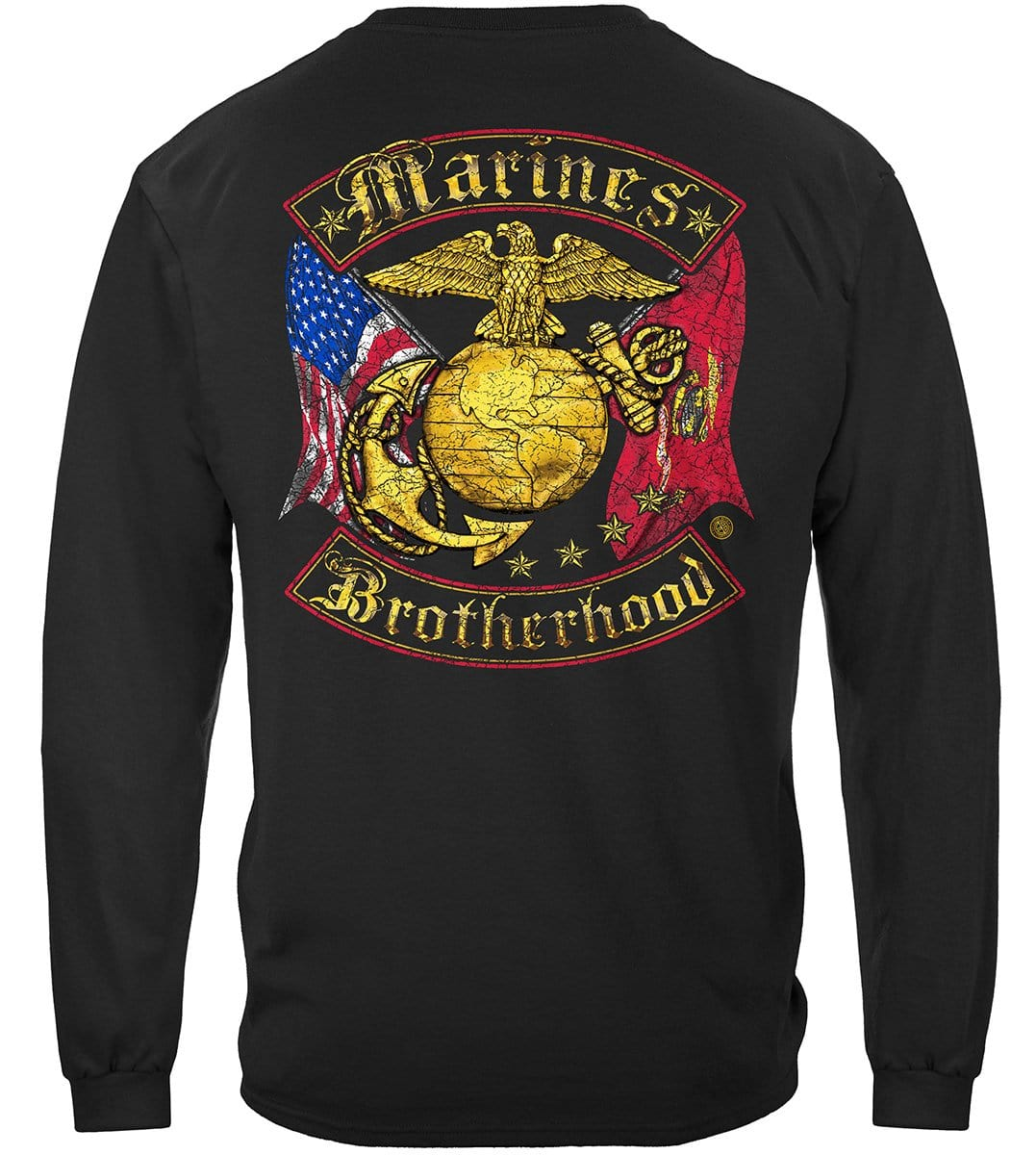 USMC Marines Double Flag Brotherhood Distressed Gold Foil Premium Long Sleeves