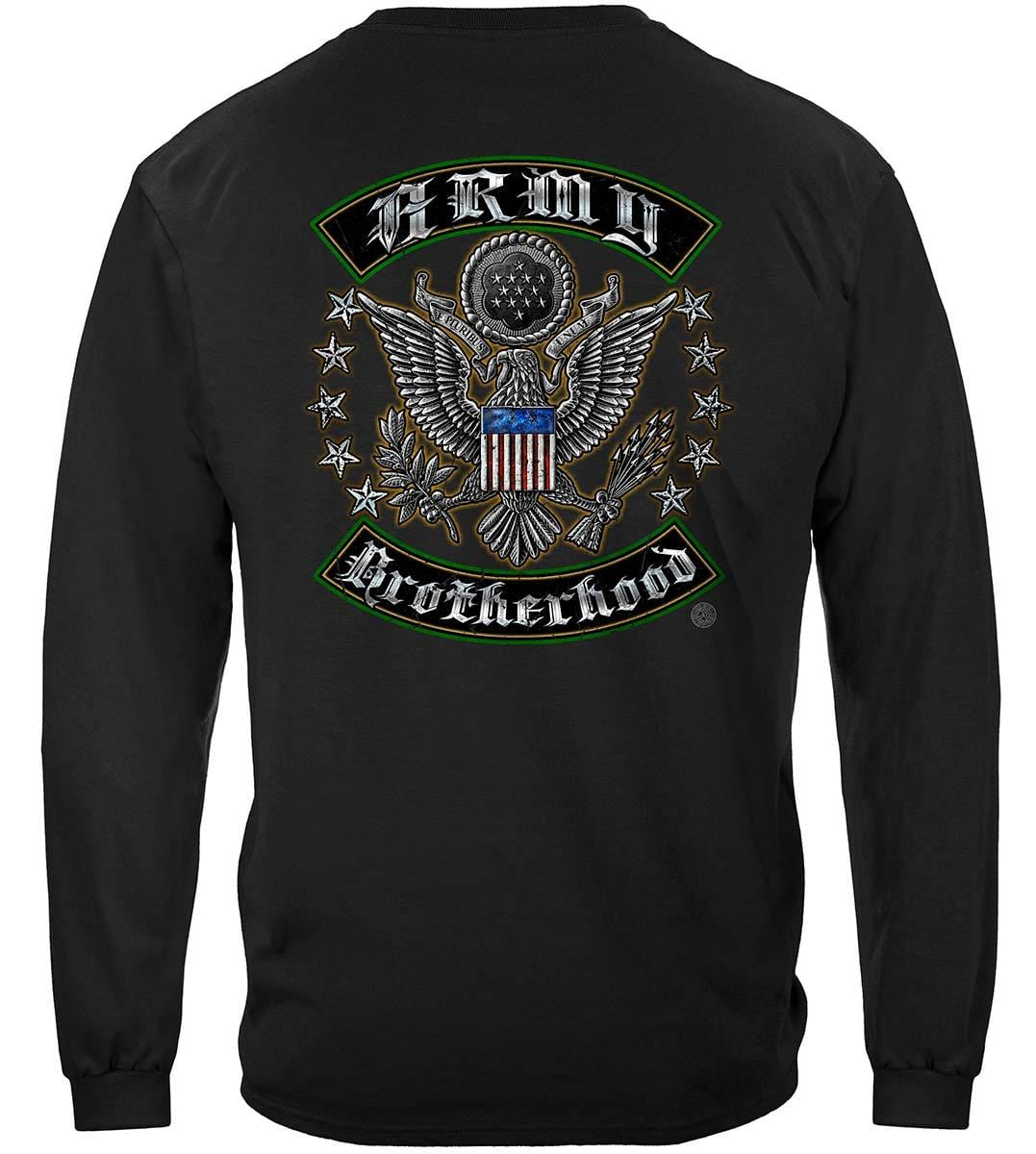 US Army Silver Stars Biker Rockers Silver Foil Premium Long Sleeves