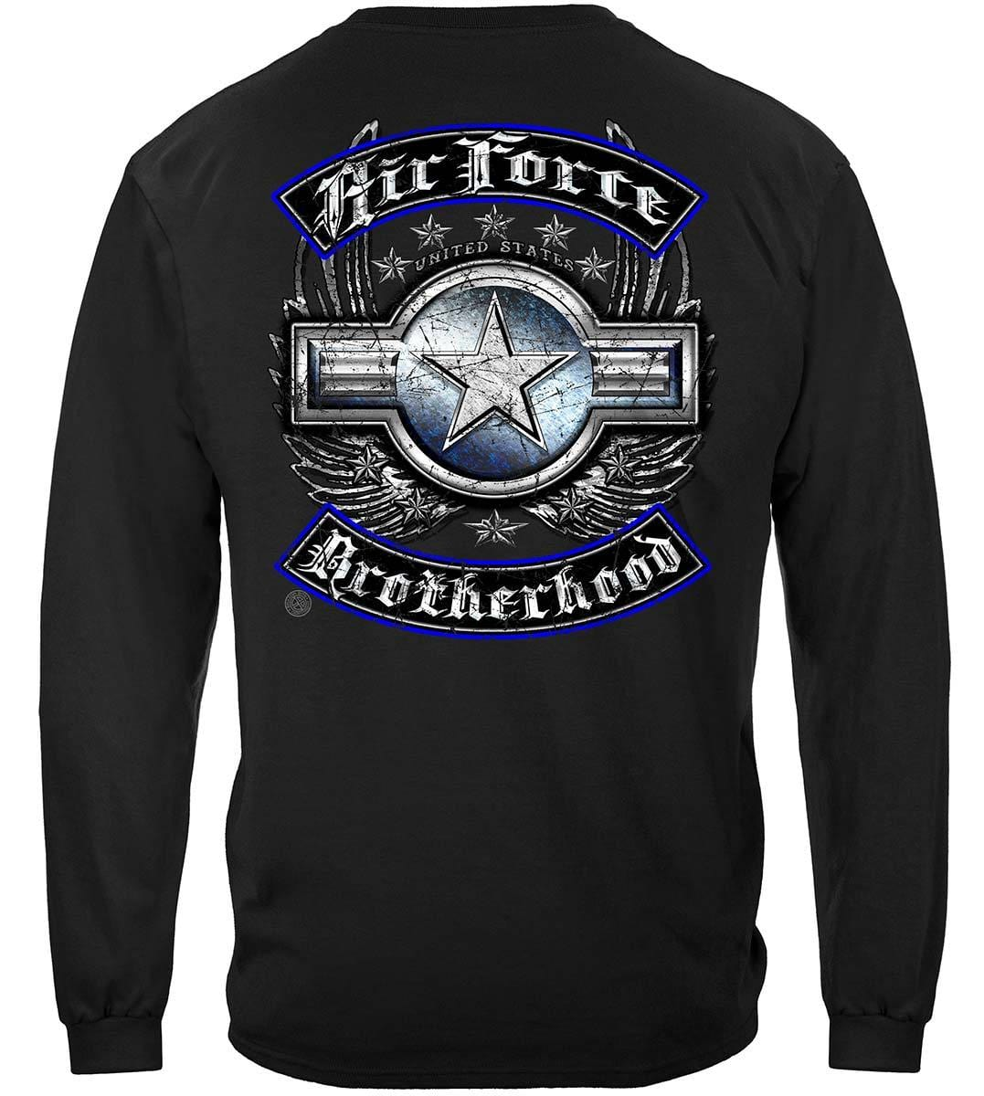 US Air Force Steel Wings Biker Rockers Silver Foil Premium Long Sleeves