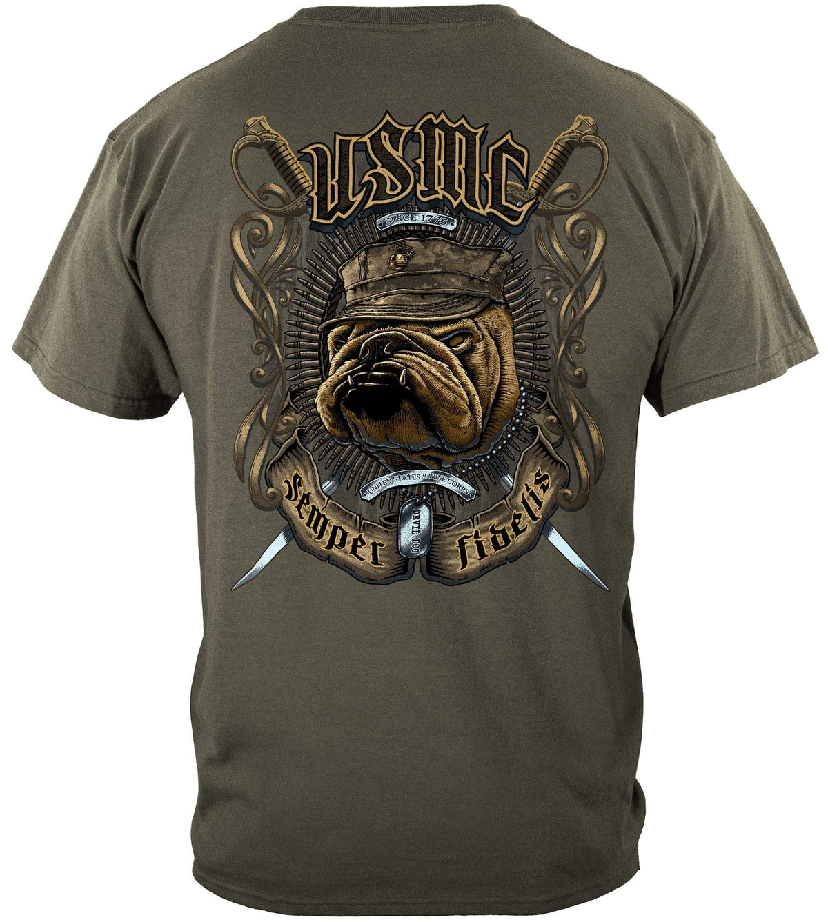 USMC Bull Dog Crossed Swords Premium Long Sleeves