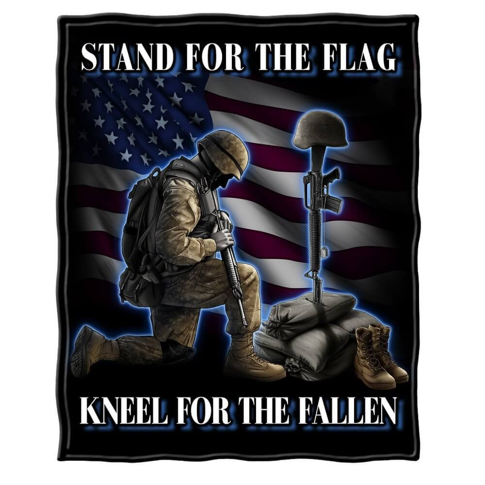I Stand For The Flag Kneel For The Fallen Blanket