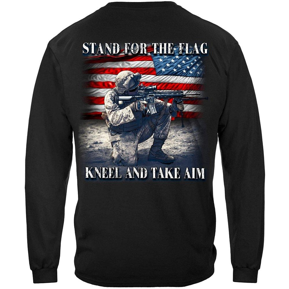 Stand For The Flag Kneel And Take Aim Premium Men's Hooded Sweat Shirt