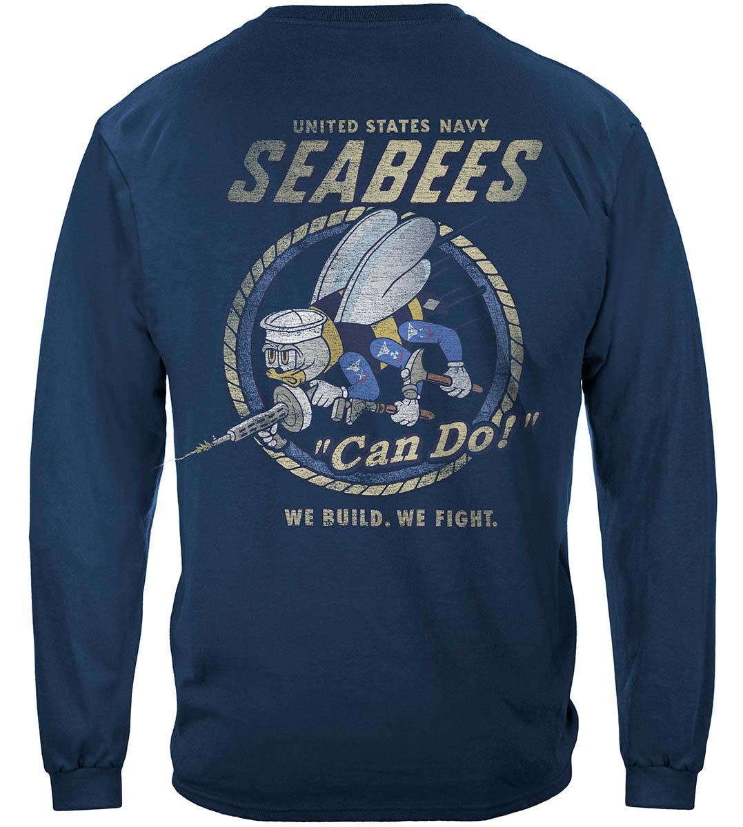 US NAVY Vintage Sea Bees United States Navy USN Premium Long Sleeves