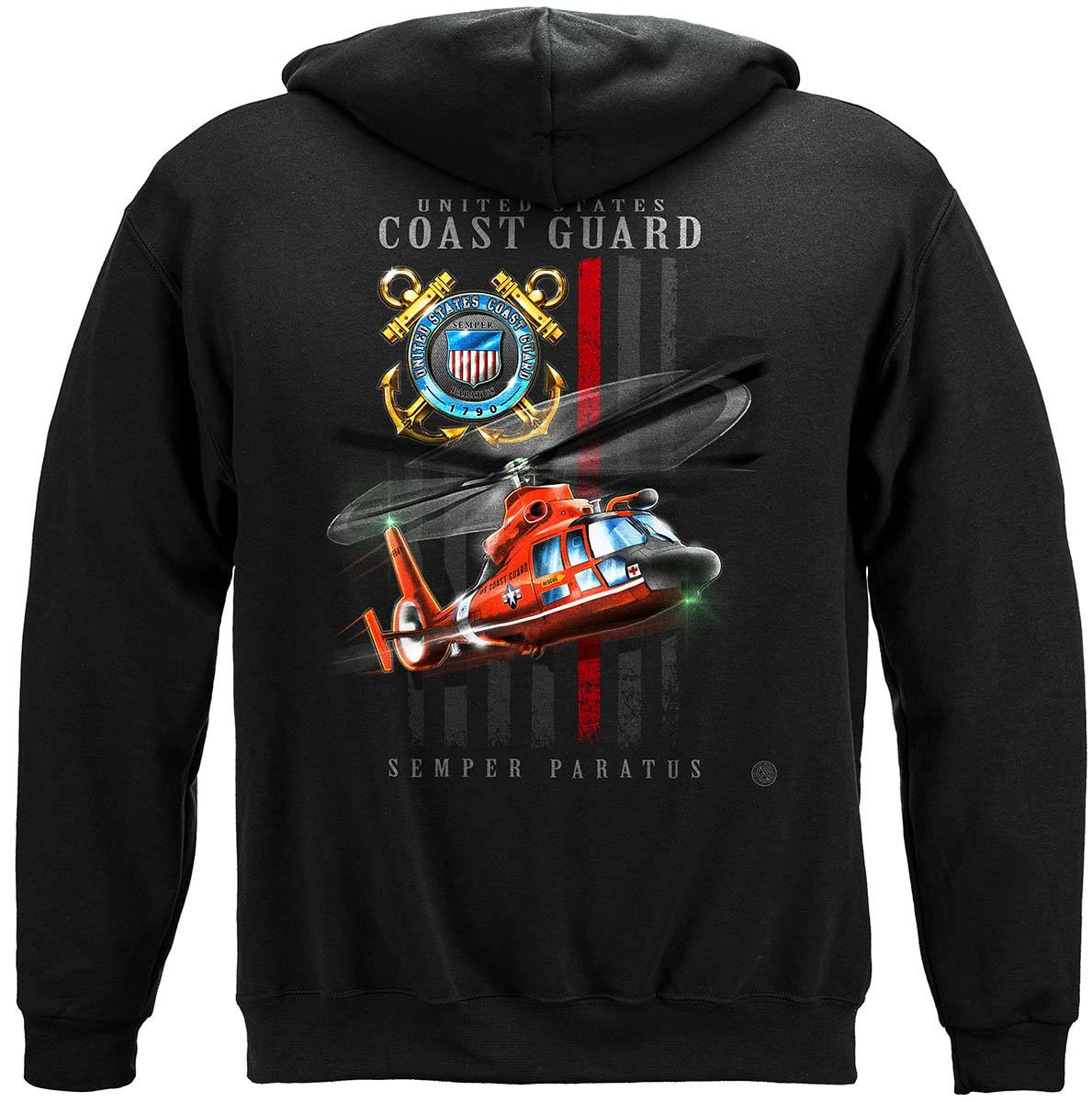 Coast Guard patriotic Flag Premium Hooded Sweat Shirt