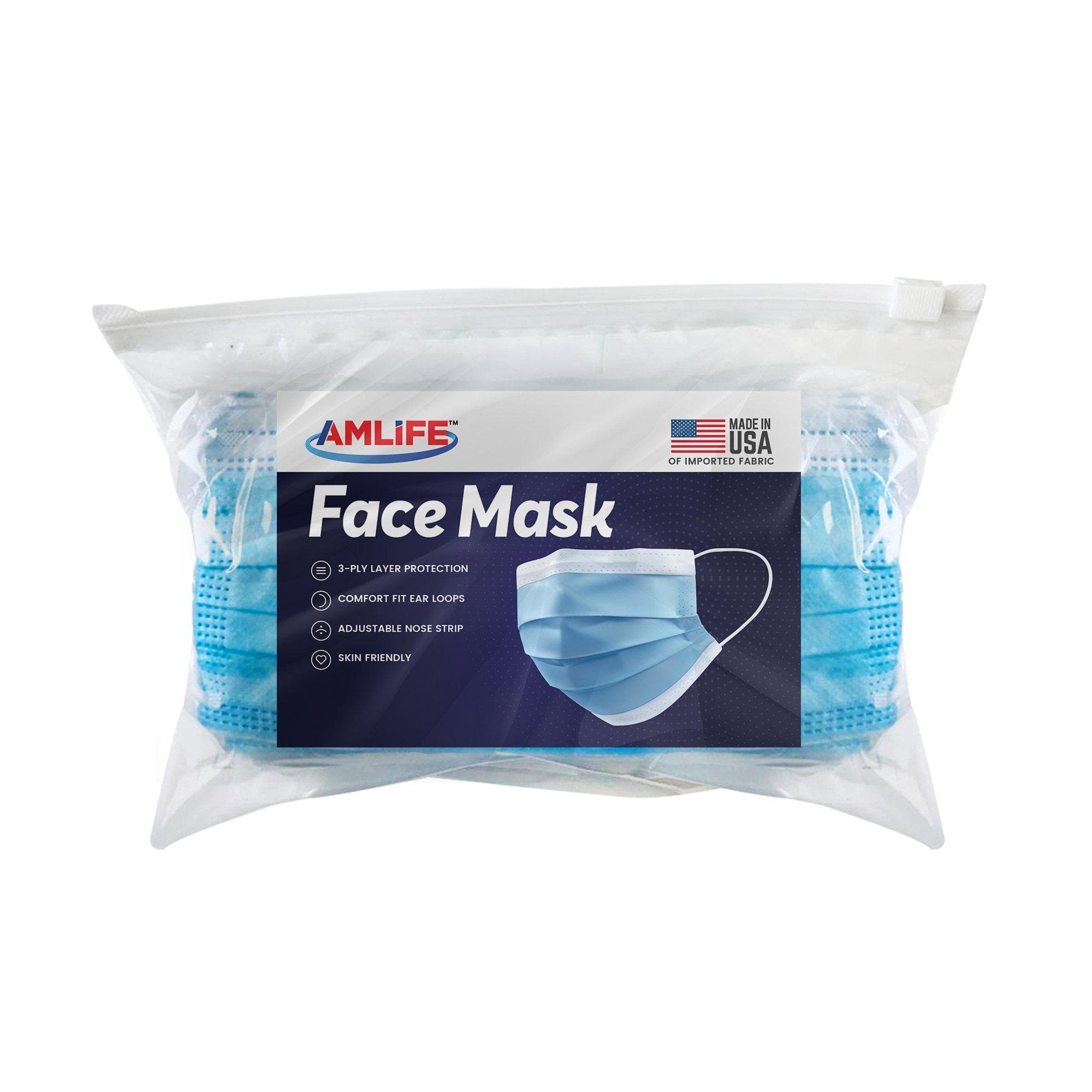 Amlife 50 Pack Face Mask Blue Made in USA Imported Fabric