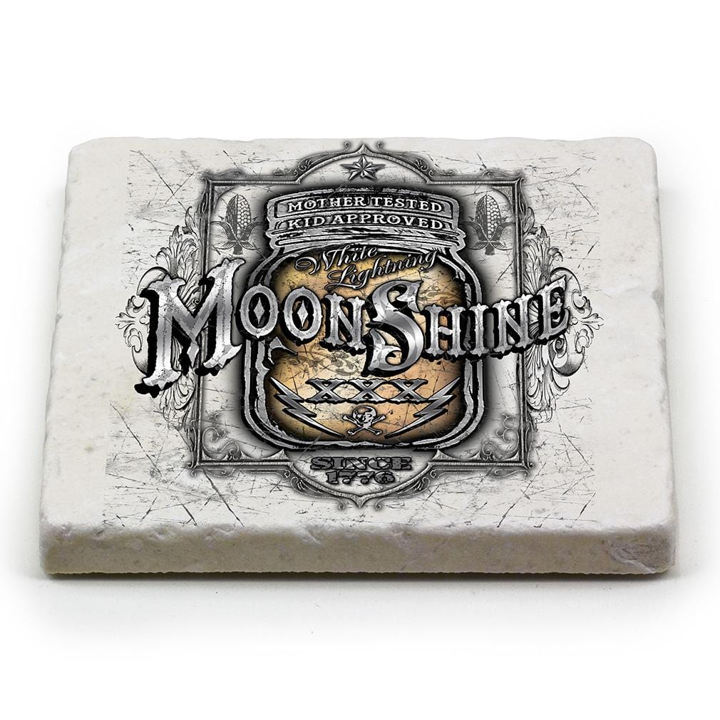 Worker Moon Shine Mason Jar Ivory Tumbled Marble 4IN x 4IN Coasters Gift Set