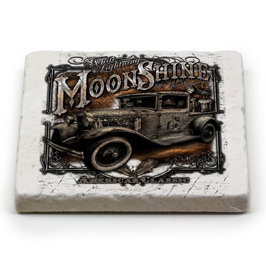 Worker Moon Shine Truck Ivory Tumbled Marble 4IN x 4IN Coasters Gift Set