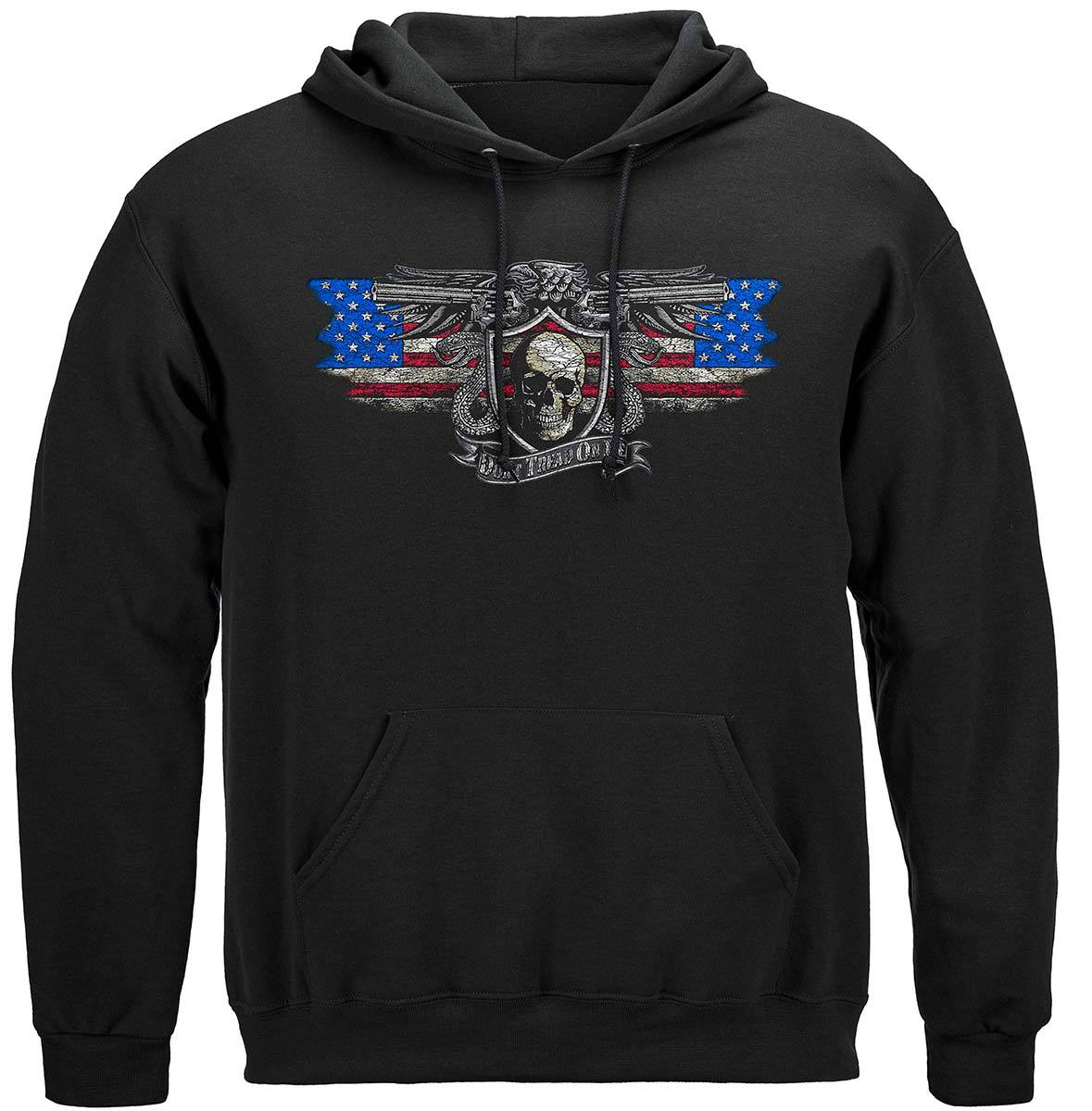 2nd Amendment Don't Tread On Me Silver Foil Premium Hooded Sweat Shirt