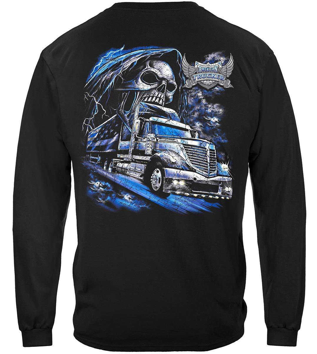 American Trucker Skull Premium Long Sleeves
