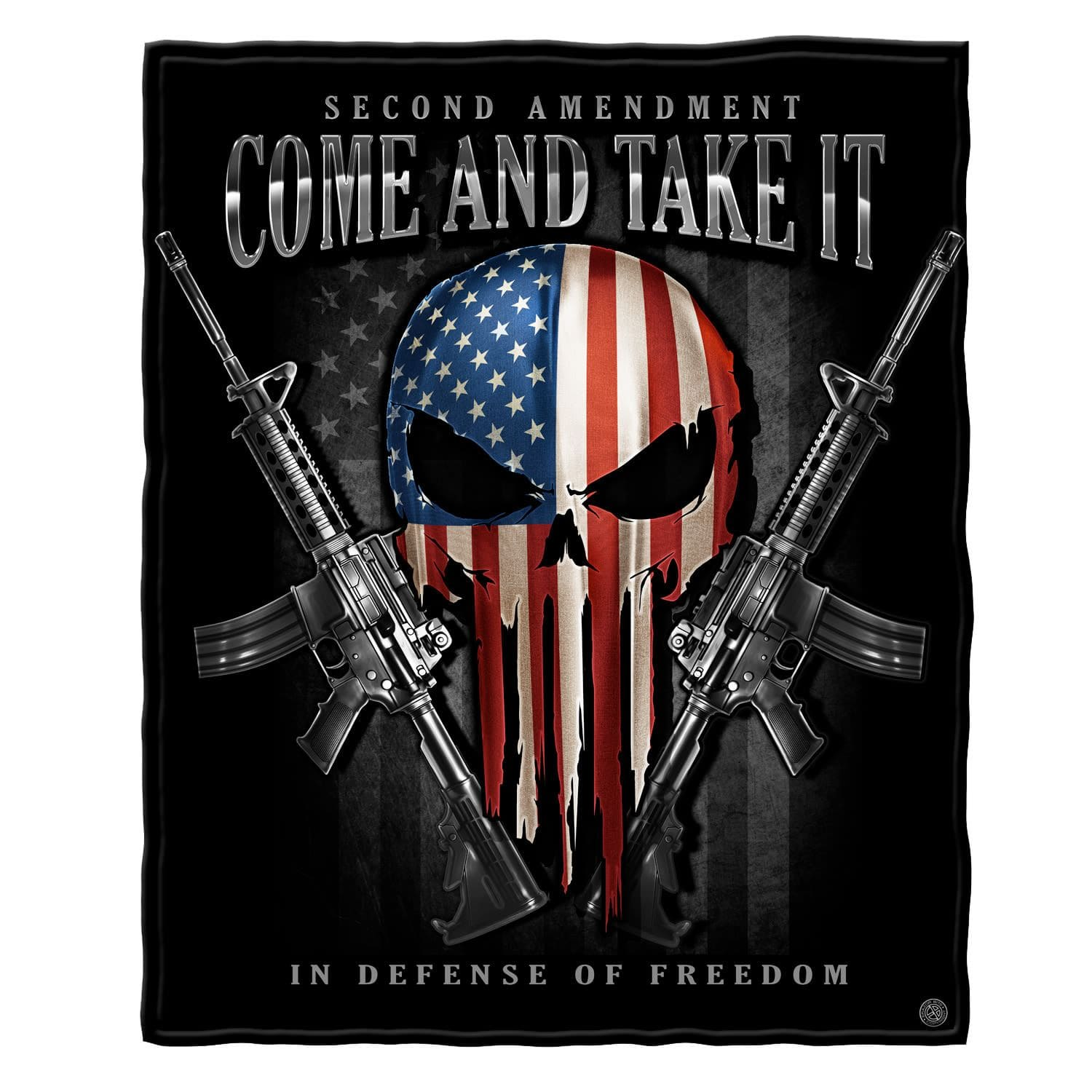 2nd Amendment Skull of Freedom Come and Take It Premium Blanket